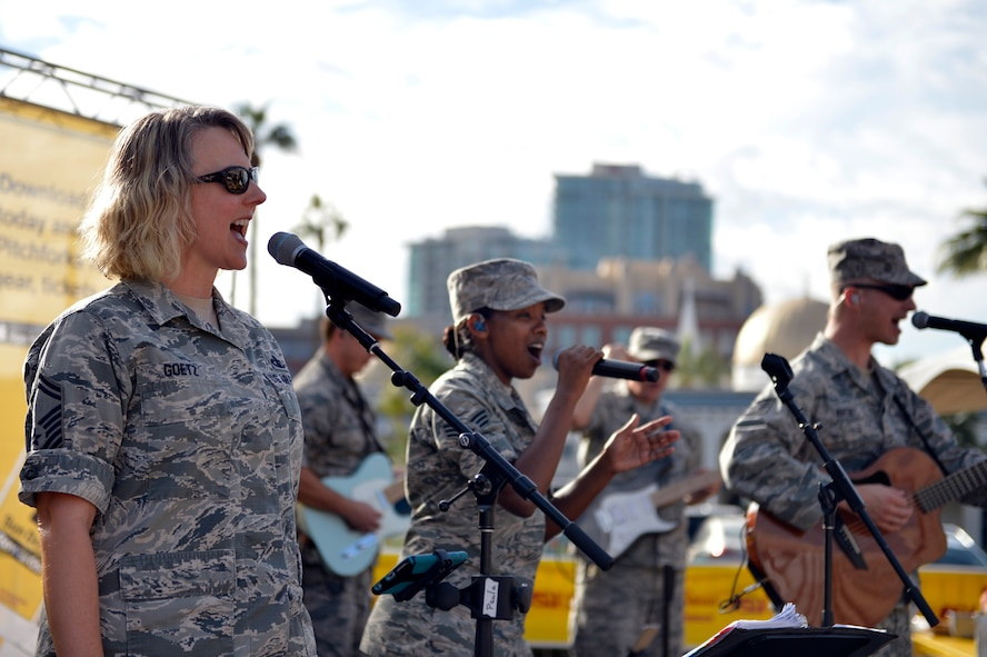 The United States Air Force Band of the West performs at Arizona State University's annual Salute to Service tailgate event in Tempe, Ariz., Nov. 4, 2017. The Salute to Service initiative honors military members past and present for their sacrifices to our country by hosting service themed events. (U.S. Air Force photo/Senior Airman Devante Williams)