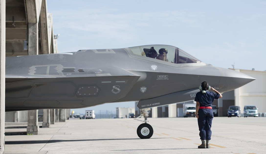 A U.S. Air Force F-35A Lightning II from Hill Air Force Base, Utah, taxis for take-off at Kadena Air Base, Japan, Nov. 7, 2017. The F-35A is deployed under U.S. Pacific Command's theater security package program, which has been in operation since 2004. (U.S. Air Force photo by Senior Airman Omari Bernard)