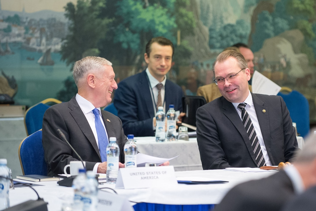 Defense Secretary Jim Mattis speaks with the Finnish defense minister.