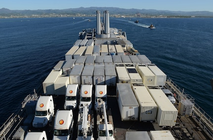 Military Sealift Command's USNS Brittin arrives into the Port of Ponce, Puerto Rico, with 53-foot generator trailers and other supplies on Nov. 3, 2017.
