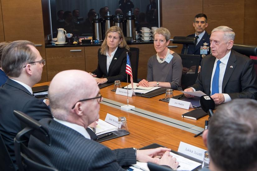Defense Secretary Jim Mattis meets with the Finnish defense minister.