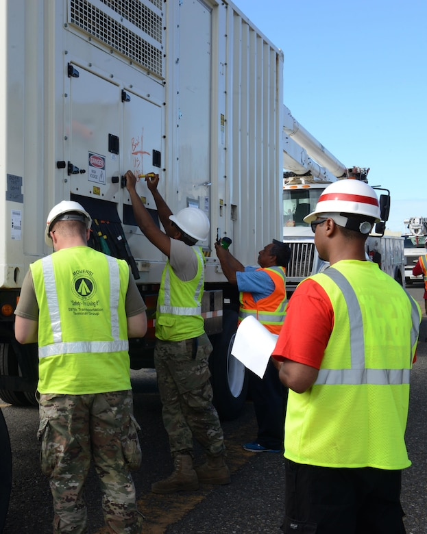 U.S. Army Soldiers assigned to the 832nd Transportation Battalion, 597th Transportation Brigade based at Joint Base Langley-Eustis, Va., mark and log a generator vehicle unloaded from Military Sealift Command's USNS Brittin at the Port of Ponce, Puerto Rico, Nov. 4, 2017.