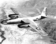 The North American B-45A Tornado shown during an early test flight from Muroc Dry Lake in California. B-45A model can be distinguished by the two-place cockpit under one single Plexiglas canopy.