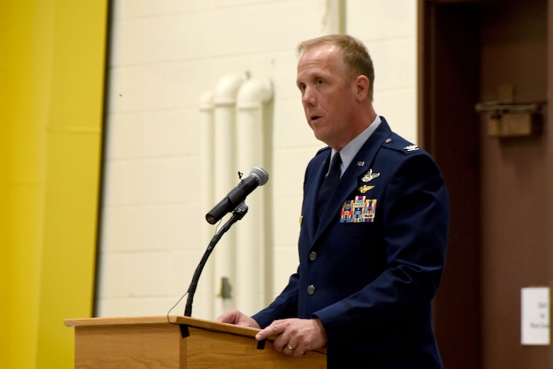 Col. Gregg Hesterman, the 178th Wing commander, assumes his new leadership position during a change of command ceremony at Springfield Air National Guard Base in Springfield, Ohio, Nov. 4, 2017. Col. John Knabel relinquished command and retired after 29 years of military service.