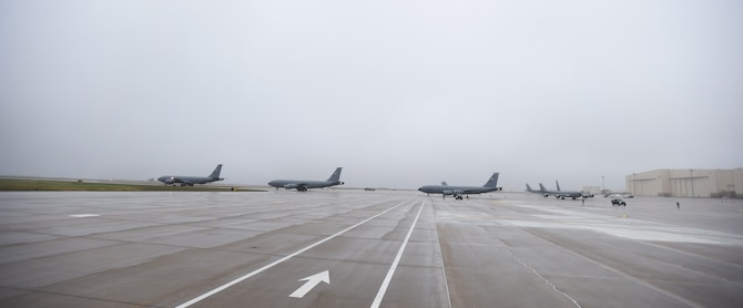 KC-135 Stratotankers taxis prior to take-off during Exercise Global Thunder 2018 Nov. 4, at McConnell Air Force Base, Kan. The scenario for the exercise integrates a variety of strategic threats to our nation and calls upon all the U.S. Strategic Command capabilities that would be provided to geographic combatant commanders in a real-world crisis. (U.S. Air Force photo by Amn Michaela R. Slanchik)