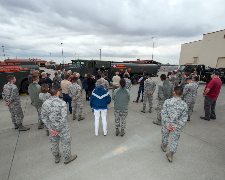 Honorary commanders visit the 60th Logistics Readiness Squadron during their tour of the 60th Mission Support Group, Nov. 3, 2017 at Travis Air Force Bace, Calif. The purpose of the Travis Air Force Base Honorary Commander Program is to promote relationships between base senior leadership and civilian partners, foster civic appreciation of the Air Force mission and its Airmen, maximize opportunities to share the Air Force story with new stewards, and to communicate mutual interest, challenges, and concerns that senior leaders and civilian stakeholders have in common. (U.S. Air Force photo by Louis Briscese)
