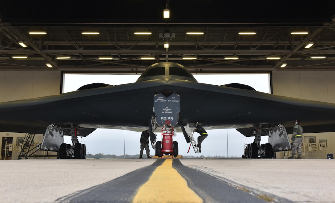 A U.S. Air Force B-2 Spirit prepares to take off from the runway at Whiteman Air Force Base, Mo., Nov. 4, 2017, during exercise Global Thunder 18 (GT18).