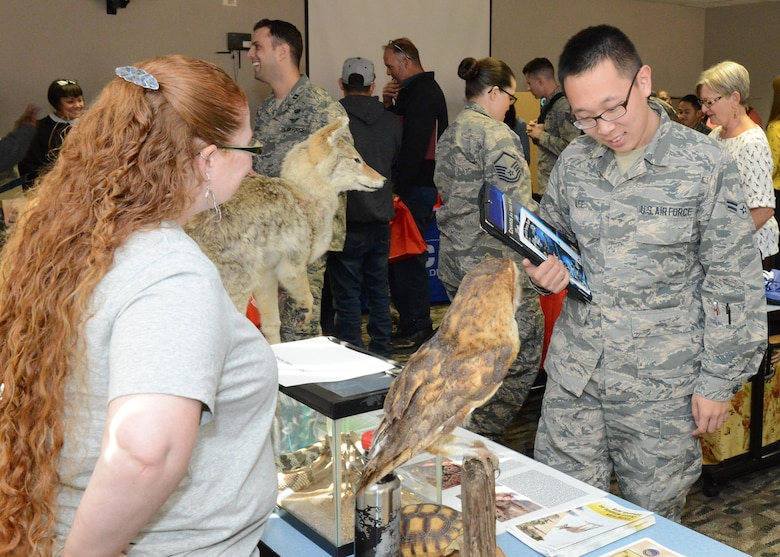Many participants at the Newcomer's Orientation Briefing information fair Nov. 2 handed out free gifts as a way to welcome those new to Edwards AFB. The information fair was held in the Airman and Family Readiness Center Looking Glass Room. (U.S. Air Force photo by Kenji Thuloweit)