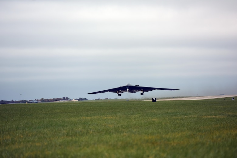 A U.S. Air Force B-2 Spirit takes off from Whiteman Air Force Base, Mo., Nov. 4, 2017, during exercise Global Thunder 2018.
