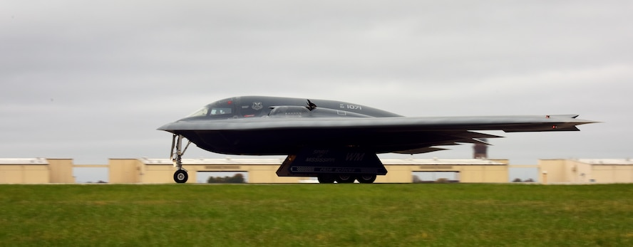 A U.S. Air Force B-2 Spirit prepares to take off from Whiteman Air Force Base, Mo., Nov. 4, 2017, during exercise Global Thunder 2018.