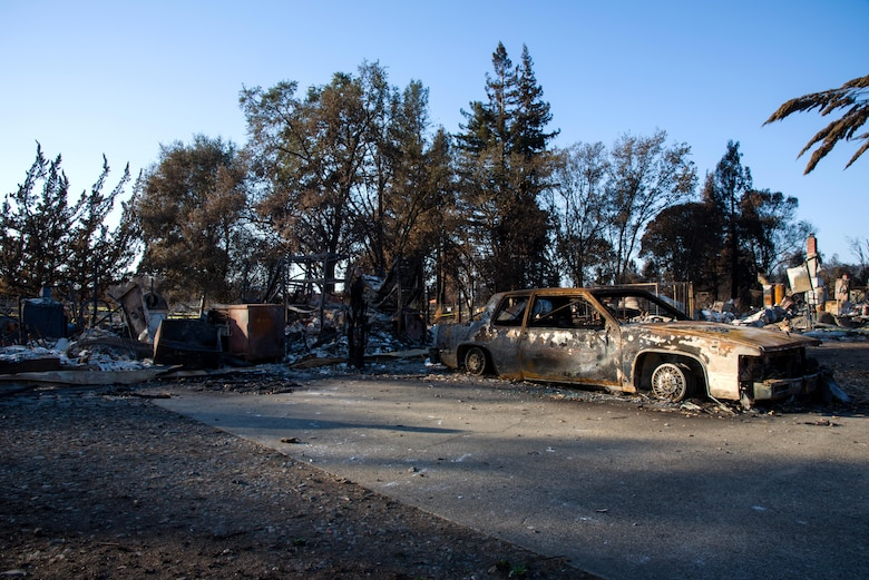 Here lies the remains of the family home of Senior Airman Martin Baglien, 349th Civil Engineer Squadron firefighter, in Santa Rosa, Calif., on Oct. 31, 2017. Baglien was awakened in the early hours of the morning by his family telling him that their home was gone.