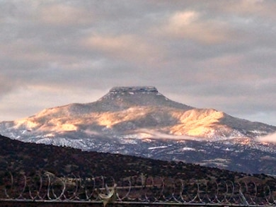 ABIQUIU LAKE, N.M. -- Cerro Pedernal as seen from the equipment compound at the project office, April 1, 2017. Photo by Clarence Maestas. This was a 2017 Photo Drive entry.