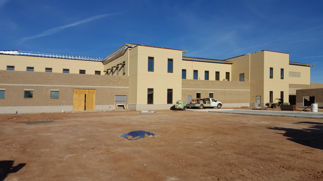 HOLLOMAN AIR FORCE BASE, N.M. – The east side of the new Medical/Dental Clinic that the District is finishing up at the base, Oct. 18, 2017. Photo by James Vigil. This was a 2017 Photo Drive entry.