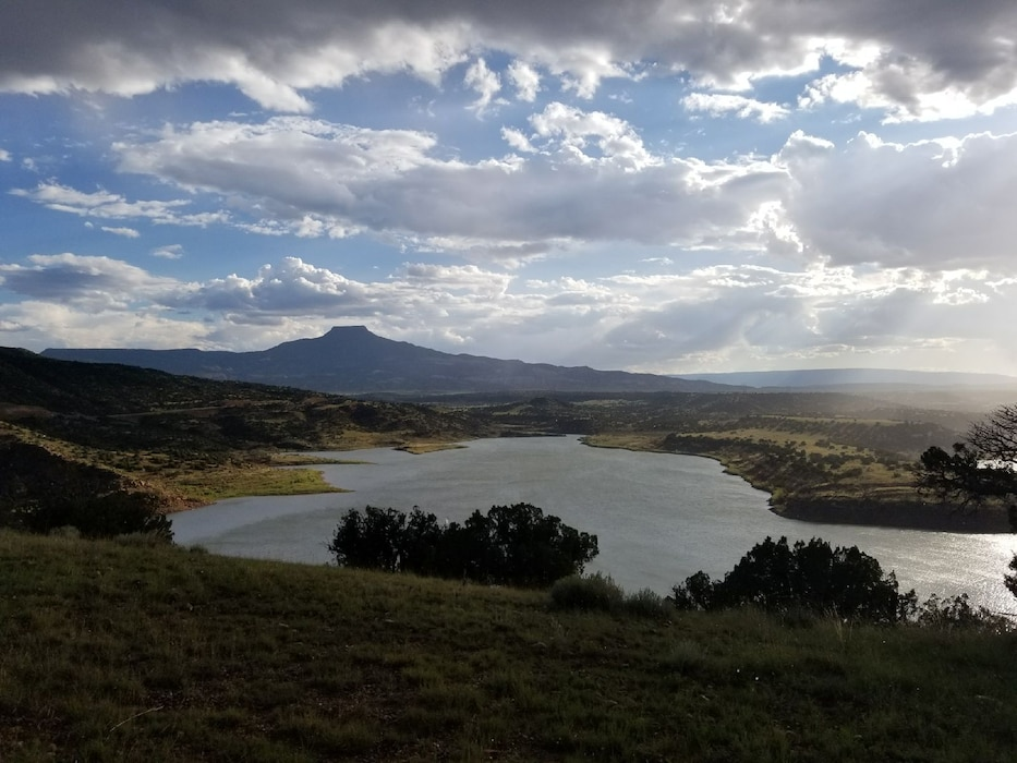 ABIQUIU LAKE, N.M. – Overcast skies over Cerro Pedernal and the lake, Aug. 1, 2017. Photo by Jeffrey Austin. This was a 2017 Photo Drive entry.