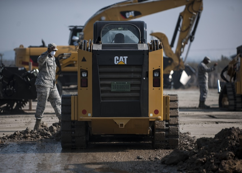 U.S. Air Force Airmen assigned to the 8th Civil Engineer Squadron participate in rapid airfield damage repair training at Kunsan Air Base, Republic of Korea, Oct. 25, 2017. Members from the Air Force Civil Engineer Center, Tyndall Air Force Base, Fla., instructed Airmen assigned to the 8th CES on the new RADR process. (U.S. Air Force photo by Staff Sgt. Victoria H. Taylor)