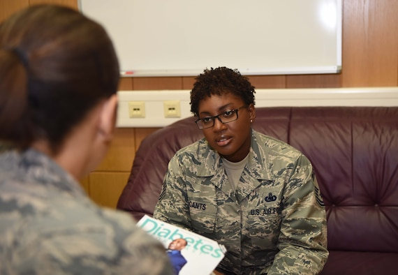 U.S. Air Force Senior Master Sgt Denise McCants, 86th Logistics Readiness Squadron superintendent of operations compliance flight discusses her diagnosis with U.S. Air Force Maj. Asia Roberson, 86th Medical Management Squadron registered nurse, , on Ramstein Air Base, Germany, Nov. 7, 2017. The American Diabetes Association has made the month of Nov. of each year American Diabetes Month in an effort to raise awareness about the disease.