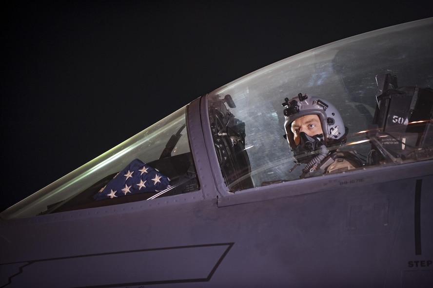 An aircrew member assigned to the 336th Expeditionary Fighter Squadron prepares waits for clearance to taxi, prior to a sortie in support of Operation Inherent Resolve objectives November 7, 2017 in Southwest Asia. The 336th EFS arrives in the region after a recent string of major victories for Coalition forces on the ground and will look to capitalize on that momentum. (U.S. Air Force photo by Senior Airman Joshua Kleinholz)