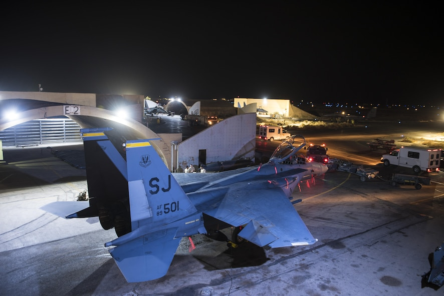 Crews assigned to the 332nd Expeditionary Maintenance Squadron prepare F-15E Strike Eagles assigned to the 336th Expeditionary Fighter Squadron for sorties in support of Operation Inherent Resolve objectives November 7, 2017 in Southwest Asia. The 336th EFS, supported by aircraft maintenance professionals, flies combat sorties day and night -- protecting Coalition forces as they work towards the elimination of remaining ISIS fighters. (U.S. Air Force photo by Senior Airman Joshua Kleinholz)