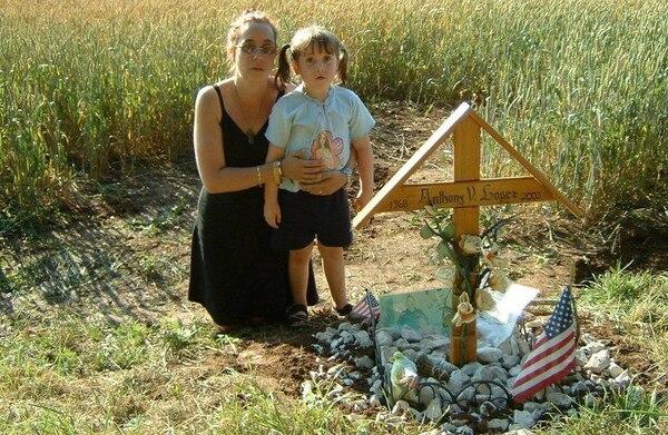 Family at graveside