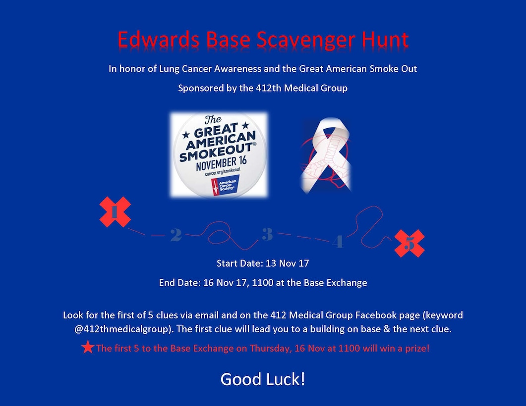 412th MDG promotes Lung Cancer Awareness Month with scavenger hunt