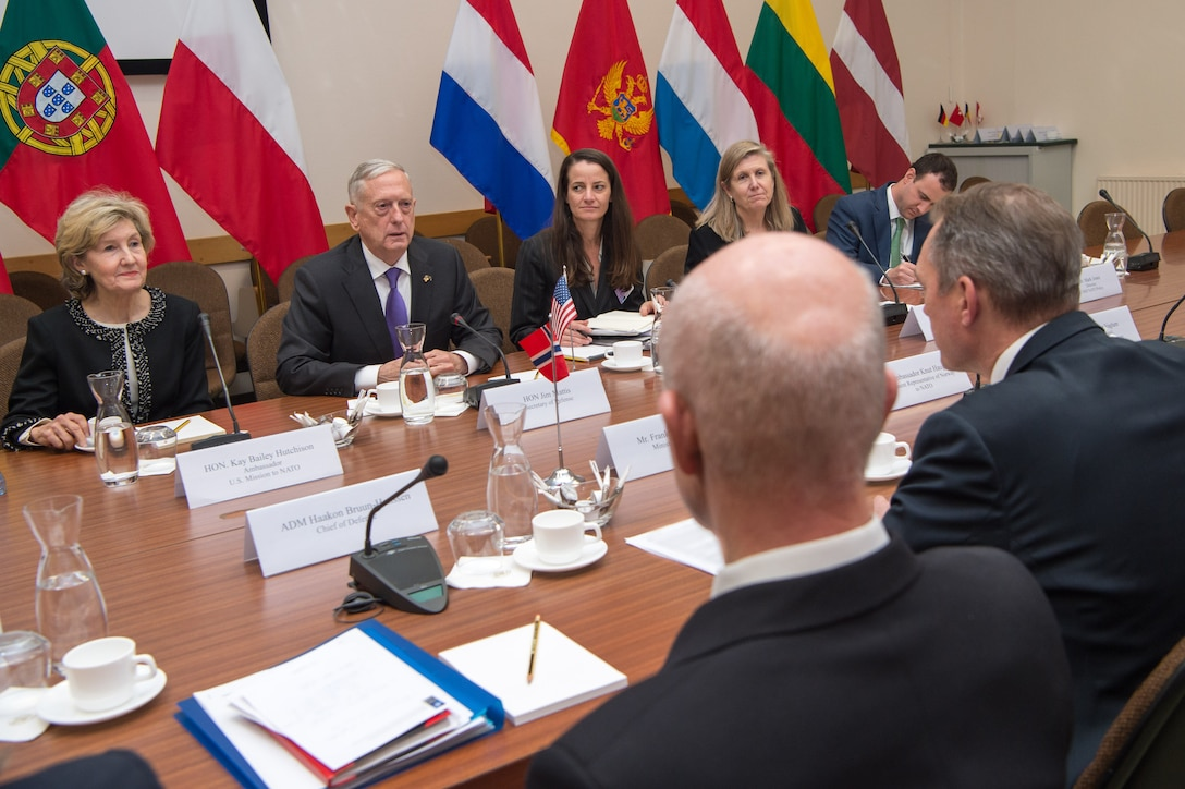 Defense Secretary Jim Mattis meets with the Norwegian defense minister at NATO headquarters.