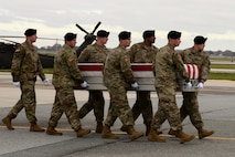 A U.S. Army carry team transfers the remains of Army Sgt. 1st Class Stephen B. Cribben of Simi Valley, Calif., Nov. 8, 2017, at Dover Air Force Base, Del.