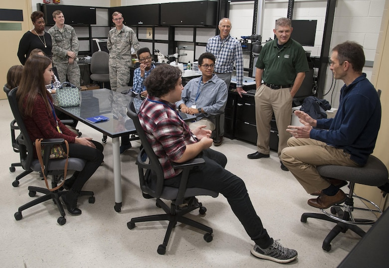 Area high schol students particiapate in a job shadow day at Wrigtht-Patterson Air Force Base, Ohio