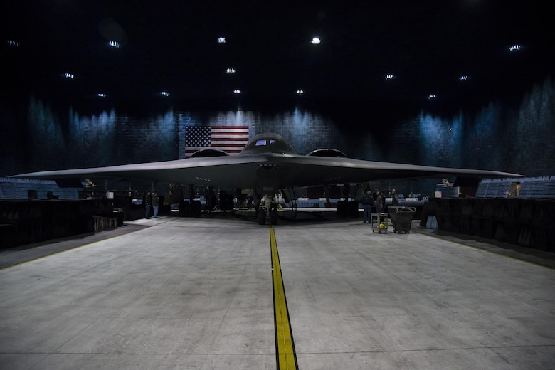 A B-2 Spirit bomber sits in the Benefield Anechoic Facility Nov. 28, 2016, preparing to undergo environmental control systems checks. The Air Force released photos this week of the stealth bomber's first time in the BAF. (U.S. Air Force photo by Christian Turner)
