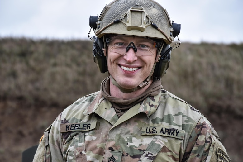Staff Sgt. Loren Keeler, 407th Civil Affairs Battalion, on the M16 range at the 353rd Civil Affairs Command Best Warrior Competition at Fort McCoy, Wisconsin, November 2, 2017. Keeler went on to win the title of 353rd CACOM 2017 Non-Commissioned Officer of the Year.  (U.S. Army Reserve photo by Catherine Lowrey, 88th Regional Support Command Public Affairs Office)