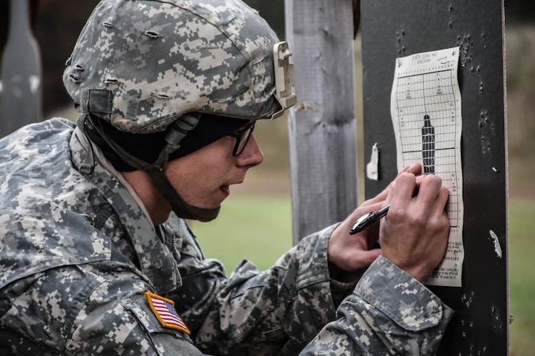 Specialist Alan Burkhart, from 432nd Civil Affairs Battalion, marks his hits on his M16 rifle range target during the 353rd Civil Affairs Command Best Warrior Competition at Fort McCoy, Wisconsin, November 2, 2017.