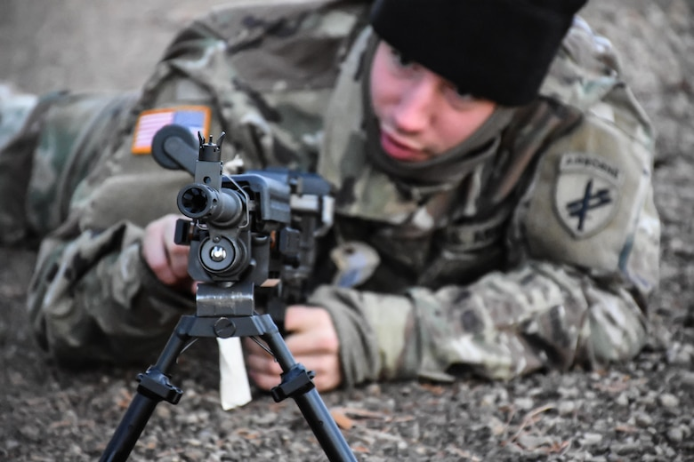 Private Second Class Yanni Tsiranides, 411th Civil Affairs Battalion, assembles a weapon during the Army Warrior Task lanes at the 353rd Civil Affairs Command Best Warrior Competition at Fort McCoy, Wisconsin, November 3, 2017. Tsiranides went on to win the title of 353rd CACOM 2017 Soldier of the Year. 