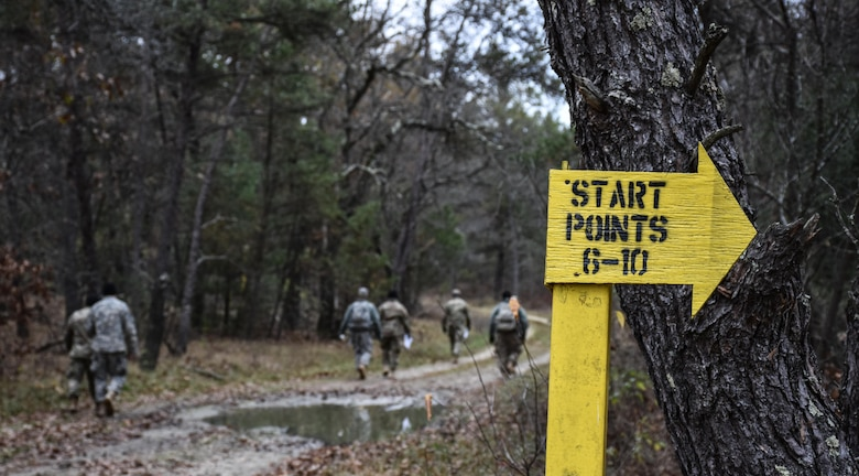 Soldiers competing in the 353rd Civil Affairs Command Best Warrior Competition head out on a Land Navigation Course at Fort McCoy, Wisconsin, November 3, 2017.