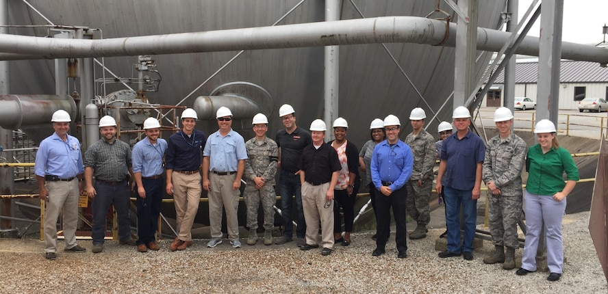 Junior Force Council groups from Wright-Patterson AFB and Edwards AFB visit AEDC. The groups, affiliated with the Air Force Research Laboratory, visited in late August to view AEDC processes and procedures and share ideas and best practices. (Courtesy photo)