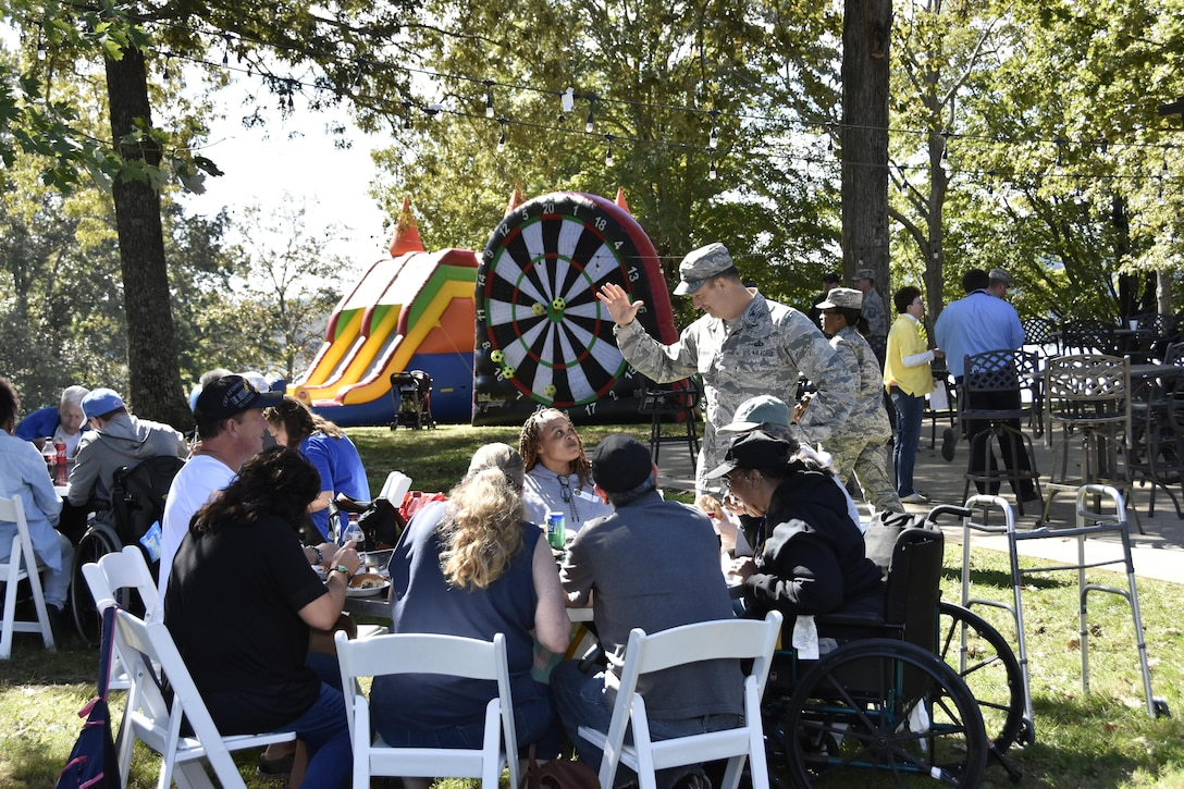 Col. Eric Leshinsky speaks to guests during the Military Appreciation: Past, Present and Future Picnic. The Oct. 20 picnic at the Arnold Lakeside Center was open to retired military, veterans and active-duty service members and their families. (U.S. Air Force photo/Rick Goodfriend)