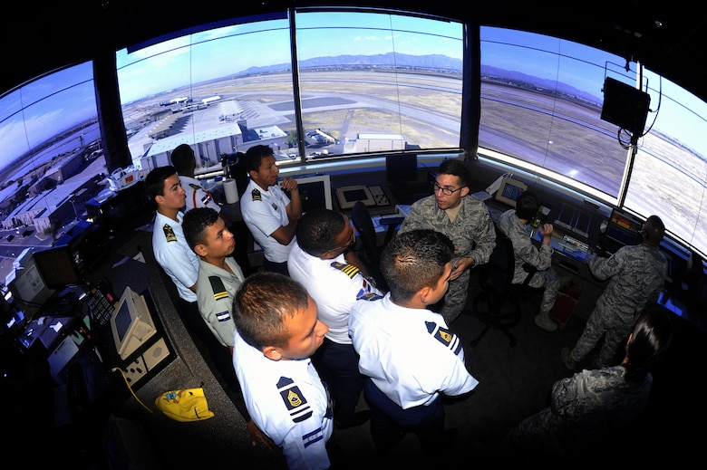 Cadets from the Latin American Cadet's Initiatives program tour the Air Traffic Control Tower at Luke Air Force Base, Ariz., Nov. 6, 2017. The Latin American cadets were brought to Luke to encourage leadership and to build a stronger relationship with each other. (U.S. Air Force photo/Airman 1st Class Pedro Mota)