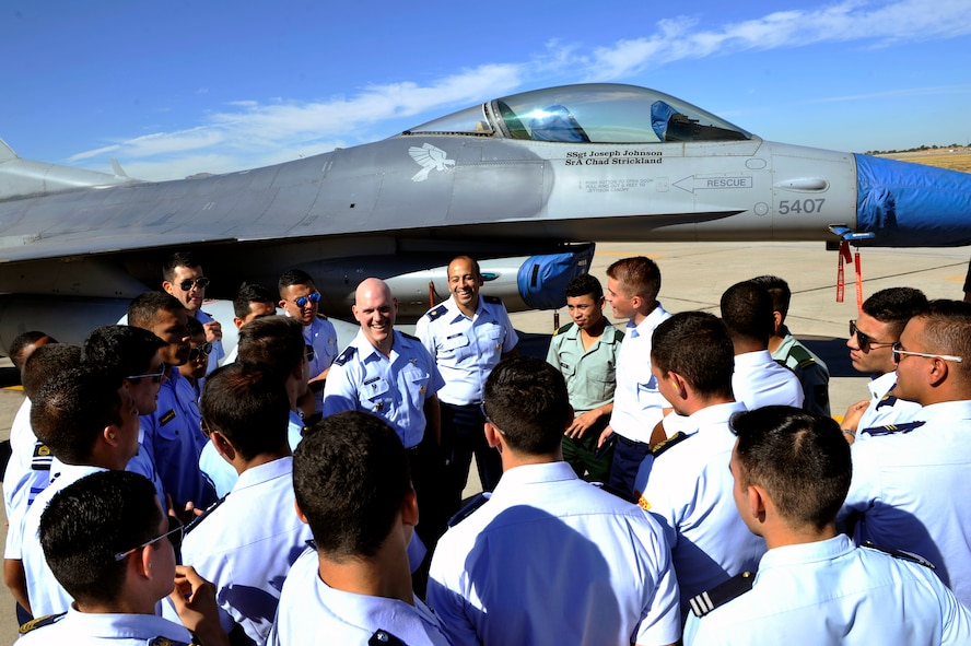 Lt. Col. Donald Landgrebe, secretary of the Air Force international affairs country director, gives a brief on the F-16 Fighting Falcon at Luke Air Force Base, Ariz., Nov. 6, 2017. This year's Latin American Cadet's Initiatives program began Oct. 9, and ended Nov. 8. (U.S. Air Force photo/Airman 1st Class Pedro Mota)