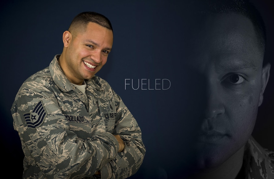 Tech. Sgt. Claudio Collazo Jr., a command section staff member from the 59th Medical Operations Sqaudron, poses for a portrait on October 6, 2017, at Joint Base San Antonio-Lackland, Texas. Collazo overcame significant adversity throughout life, fueling his drive for success. (U.S. Air Force photo by Senior Airman Keifer Bowes)