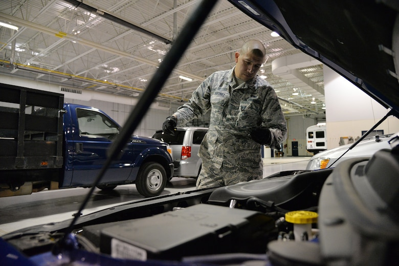 Airman 1st Class Mark Martinez, 341st Logistics Readiness Squadron vehicle operator, checks a vehicle's oil Nov. 7, 2017, at Malmstrom Air Force Base, Mont.