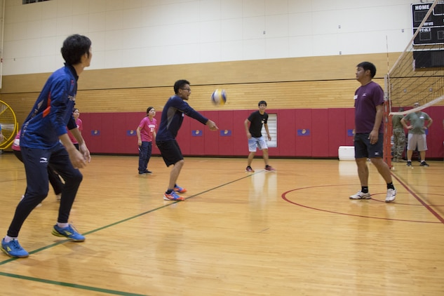 CAMP FOSTER, OKINAWA, Japan – A player from the Kitanakagusuku International Friendship Association bumps the volleyball Nov. 7 at the Friendship Volleyball Event aboard Camp Foster, Okinawa, Japan.