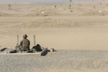 An Afghan National Army instructor with the Helmand Regional Military Training Center observes as an ANA soldier with 6th Kandak, 1st Brigade, 215th Corps fires an M24 sniper rifle during a battle sight zero range at Camp Shorabak, Afghanistan, Nov. 7, 2017. Approximately 15 soldiers with 6th Kandak, 1st Brigade are enhancing their long-range firing capabilities as part of the operational readiness cycle. The ORC is an eight-week training program designed to build the warfighting capabilities of an infantry kandak to more effectively combat the Taliban throughout the province. (U.S. Marine Corps photo by Sgt. Lucas Hopkins)