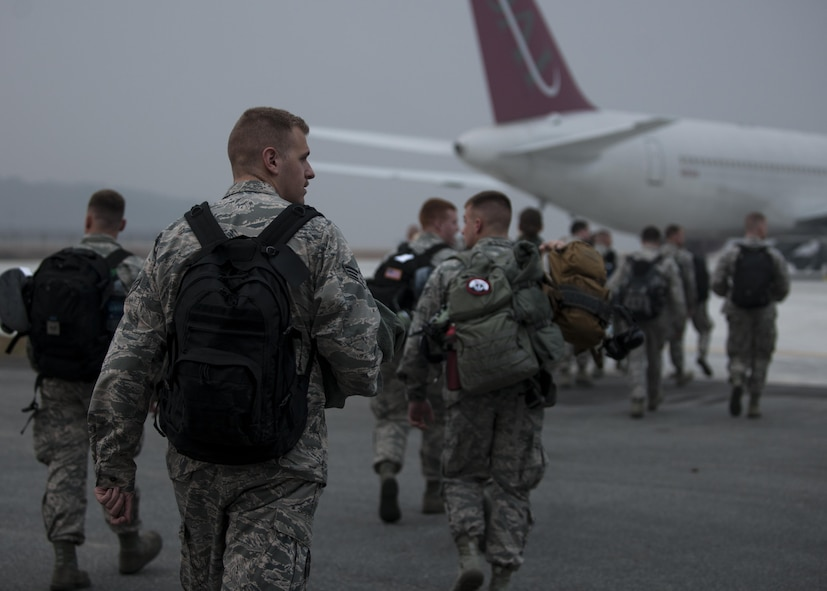 U.S. Air Force Airmen assigned to the Wisconsin Air National Guard 115th Fighter Wing, prepare to depart the installation at Kunsan Air Base, Republic of Korea, Nov. 8, 2017.  The 115th FW participated in a three-month Theater Security Package rotational Deployment to Kunsan AB as part of maintaining peace and security in the Indo-Asia-Pacific region. (U.S. Air Force photo by Staff Sgt. Victoria H. Taylor)