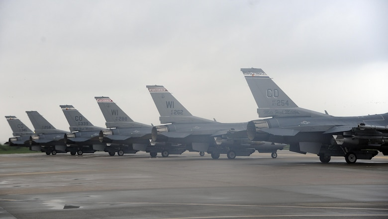 U.S. Air Force Fighting Falcon F-16s, or more commonly Vipers, from the 8th Fighter Wing line up for an elephant walk on Aug. 22, 2017 at Kunsan Air Base, Republic of Korea. The Viper is a multi-role fighter aircraft capable of close-air support for ground forces and dominating enemy air assets in air-to-air combat. The elephant walk was a part of the regularly scheduled Operational Readiness Exercise Beverly Pack 17-3, which tested the base's ability to respond to various scenarios in a contingency environment. (U.S. Air Force photo by Senior Airman Colby L. Hardin)