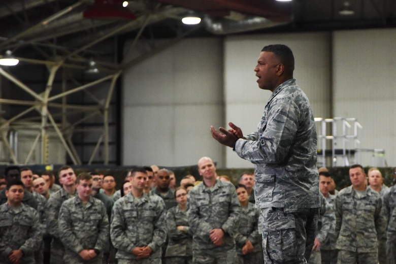 Lt. Gen. Richard M. Clark, 3rd Air Force Commander, speaks to a crowd of Airmen during his presentation at Royal Air Force Lakenheath, England, Nov. 7. The general handed out various awards to outstanding Airmen for their contributions towards the mission. (U.S. Air Force photo/Airman 1st Class Christopher S. Sparks)