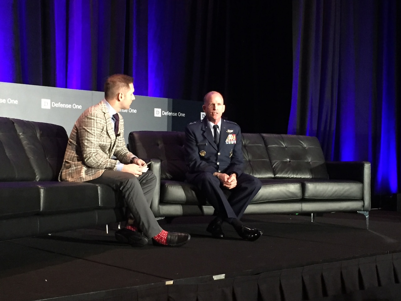 A reporter speaks with the Air Force vice chief of staff