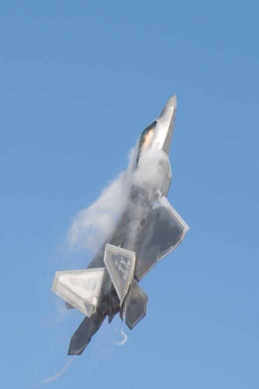 An F-22 Raptor performs vertical flight as part of capability demonstration, Nov. 5, 2017, at Naval Air Station, Fla. Maj. Daniel Dickinson, F-22 Raptor Demo Team pilot, performed a display of capabilities before joining the Heritage Flight Formation. (U.S. Air Force photo by Staff Sgt. Eric Summers Jr.)