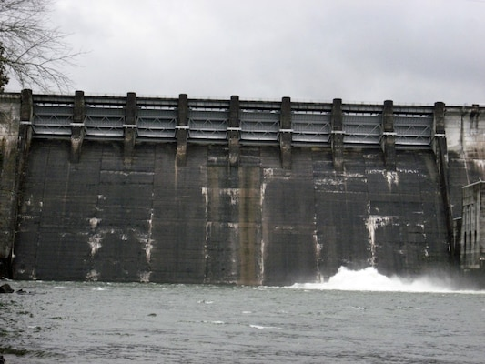 The U.S. Army Corps of Engineers Nashville District announces Center Hill lake levels will remain lowered and targeted at elevation 630 mean sea level for 2018, and will likely remain at that level several more years until recently identified main dam spillway gate issues can be fully evaluated. Center Hill Dam is located in Lancaster, Tenn. (USACE photo by Linda Adcock)