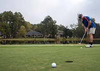 Tech Sgt. Joseph Curran, 824th Base Defense Squadron fire team member, watches his golf ball during the Safeside Association reunion golf tournament, Nov. 6, 2017, in Valdosta, Ga. Biennially, the Safeside association holds a reunion to interact with their past and present comrades from the 820th Base Defense Group. (U.S. Air Force photo by Airman Eugene Oliver)