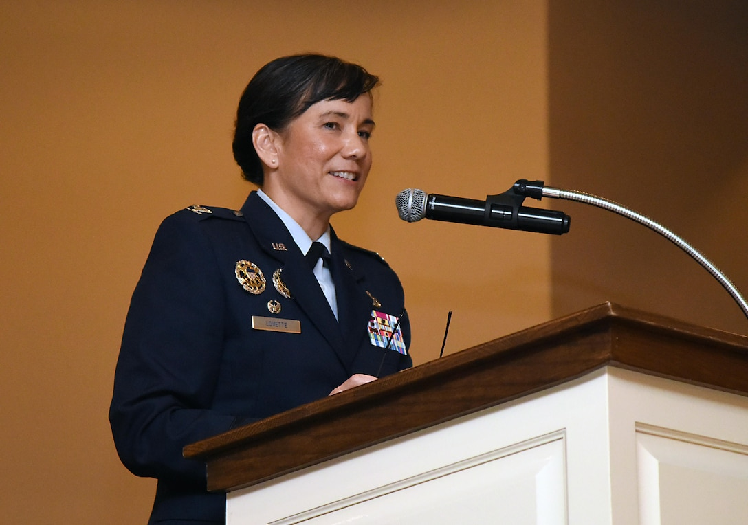 Col. Debra Lovette, 81st Training Wing commander, delivers remarks during the Tuskegee Airmen Inc. 8th Annual Benefit Gala at the Slavonian Lodge Nov. 4, 2017, in Biloxi, Mississippi. The event, which was held to raise funds for the Col. Lawrence E. Roberts Scholarships Fund, also included a silent auction and dinner. (U.S. Air Force photo by Kemberly Groue)