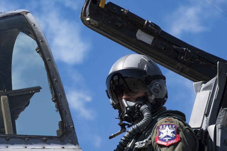 Maj. Joseph Morrin, A-10 Heritage Flight Team pilot, parks an A-10C Thunderbolt II, after performing in a heritage flight, Nov. 4, 2017, at Naval Air Station Jacksonville, Fla. The U.S. Air Force Heritage Flight program showcases past, present and future aircraft to spectators at air shows around the world. (U.S. Air Force photo by Staff Sgt. Eric Summers Jr.)