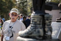 Rich Nucifora, member of the Safeside Association looks at a memorial during a Safeside reunion, Nov.8, 2017, at Moody Air Force Base, Ga. Biennially, the Safeside Association holds a reunion to interact with and honor their past and present comrades from the 820th Base Defense Group. (U.S. Air Force photo by Airman Eugene Oliver)